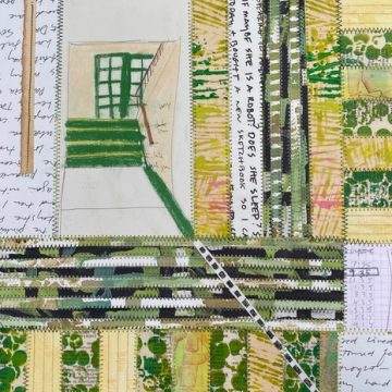 """Number 73  by Daniella Woolf, Sewn Paper Collage 11"""" x 15"""""""