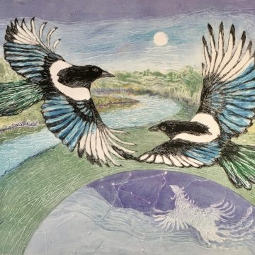 "Magpie Bridge - the Legend of Tanabata by Anita Heckman, Monotype 15"" x 21.5"""