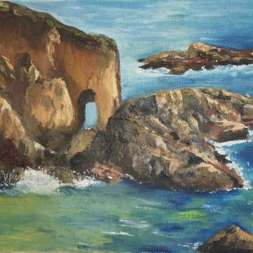 """Arches in the Sea by Sally-Christine Rodgers, Oil on Board, 8"""" x 10"""""""