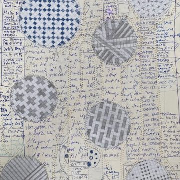 """Number 135 by Daniella Woolf, Sewn Paper Collage 11"""" x 15"""""""