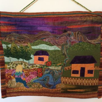 """From A Distance by Gaby Litsky, Fabric Art Quilt 15"""" x 18.5"""""""