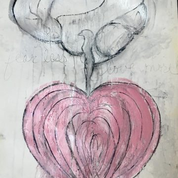 """Fear Less, Live More: Drawing 3, Mixed Media on Paper, 26"""" x 18"""""""