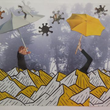 """Sheltering in Place by Judith Ann Nilsen, Collage on 8.5"""" x 11"""" Paper"""