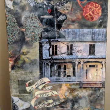 Sheltering by Kelly Anderson, Collage & Encaustic on Board