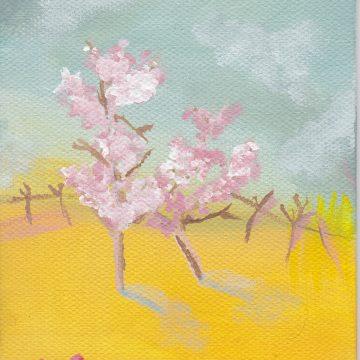 "Spring Shadow by Larissa Balsley, Acrylic 4"" x 6"""