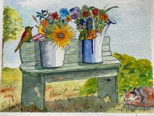 """Bench by Teresa Ronsse, Watercolor 4"""" x 5"""""""
