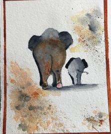 """Elefanten by Teresa Ronsse, Watercolor 4"""" x 5"""""""