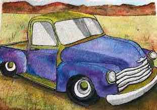 """Old Chevy by Teresa Ronsse, Watercolor 4"""" x 5"""""""