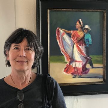 """Kati D'Amore pictured with her piece """"The Festival"""""""