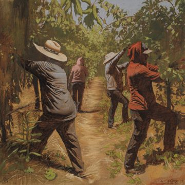 Pulling Leaves byWarren Chang,Oil on Canvas