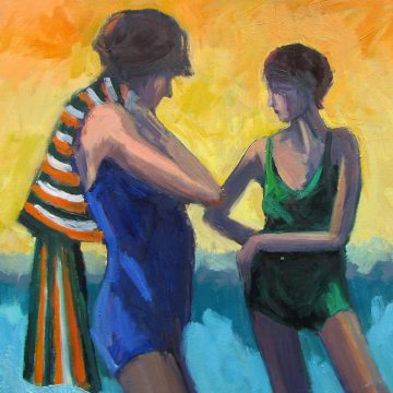 """A Conversation by the Sea by Barbara Lawrence, $3000, Oil on Canvas, 30"""" x 30"""""""