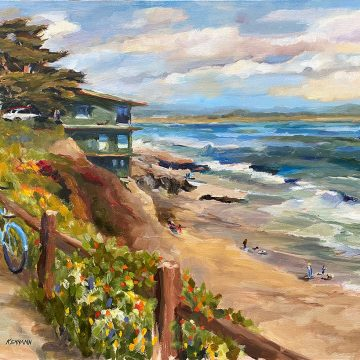 """The Beauty of a Spring Day at Pleasure Point by Bill Kennann, $750, Oil on Canvas, 14"""" x 18"""""""