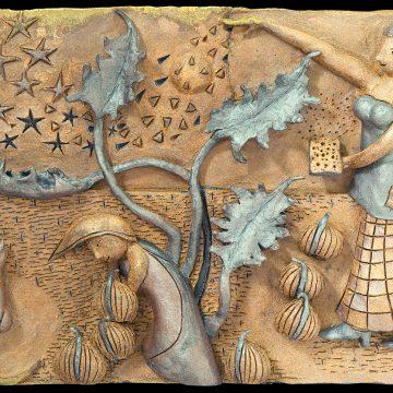 "Reborn in Starlight by Brad Burkhart, $850, High-fried Clay Relief, 14"" x 22"" x 3"""