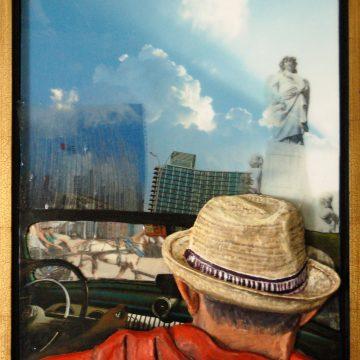"Cuba by Lyn MacDonald, $500, Oil Paint on Cast Paper & Mixed Media, 25"" x 22"""