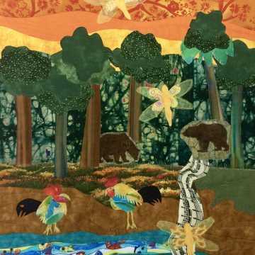 """Hope For the World by Gaby Litsky, $150, Textile-Quilt, 23.5"""" x 19.5"""""""