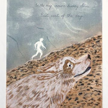 """Running Mates by Helen Mackinlay, $100, Lino Etching with Monotype, 11"""" x 14"""" Framed"""