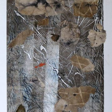 """The End of All Our Exploring by Janis O'Driscoll, $80, Photopolymer Etching on Stonehenge with Eco-print Pieces on Washi Mounted on Wood Panel, 14"""" x 11"""""""