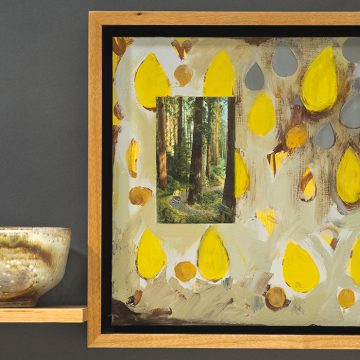 """Green Dew Drops by Jean & Mike Beebe, $475, Acrylic on Panel with Woodfried Ceramic Cup, 17.5"""" x 23.75"""" x 5"""""""