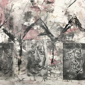 """Shelter In Place by Judy Stabile, $250, Mixed Media Collage, 12"""" x 16"""""""