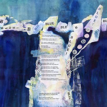 """Blue by Karen Druker, $575, Mixed Media, 28"""" x 22"""""""