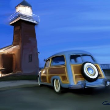 """Woody at the Lighthouse by Larry Cohen, $250, Digital, 11"""" x 14"""""""