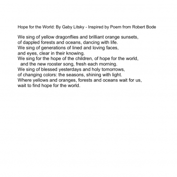 Hope for the World by Gaby Litsky (to accompany artwork)