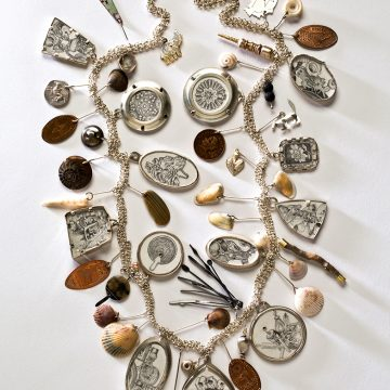 """Looking Back by Lynda Watson, Pencil Drawings on Paper, Sterling Silver, Mixed Media, 14"""" x 6"""" NFS"""