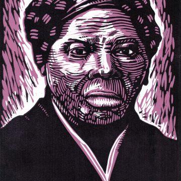 """Harriet Tubman by Melissa West, $85 (unframed), Linoleum Block Print, 22"""" x 25"""""""
