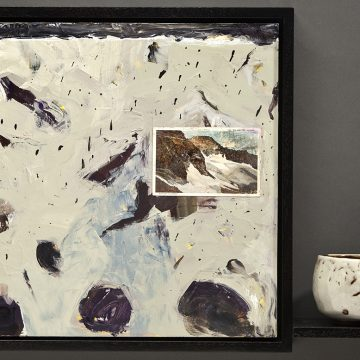 """Blanketed Boulders by Jean & Mike Beebe, $600, Acrylic on Panel with Woodfried Ceramic Cup, 17.5"""" x 23.75"""" x 5"""""""