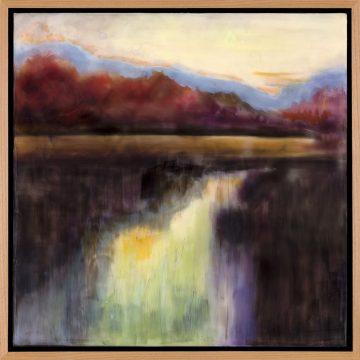 """I Wanna Go by Susanna Waddell, $750, Encaustic, 19.5"""" x 19.5"""""""